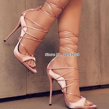 ALMUDENA Women Sexy Sequined Satin Clothe Stiletto Heels Sandals Thin Strappy Lace-up Dress Shoes Cross Tied Evening Pumps Shoes