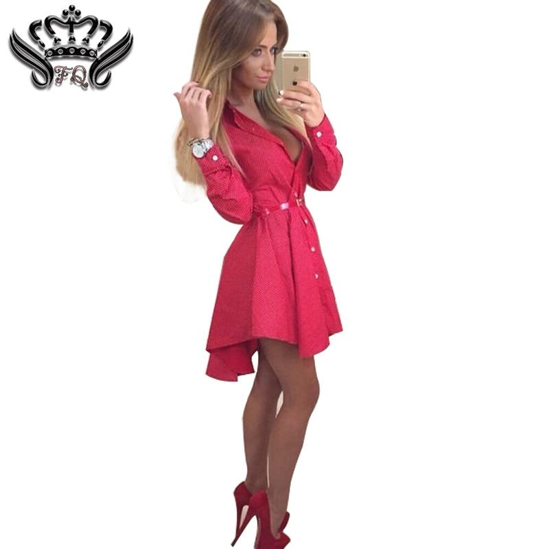 Sexy Club Dress 2018 Nueva moda otoño mujer Camisa Vestido puntos pequeños Moda impresa irregular de manga larga Mini Vestidos vestidos