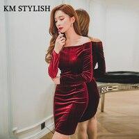 PAutumn ve Kış 2017 Yeni kadın Moda Seksi Paket Kalça Kılıf Şarap Kırmızı Kadife Elbise Kapalı Omuz Mor renk SM, L, XL