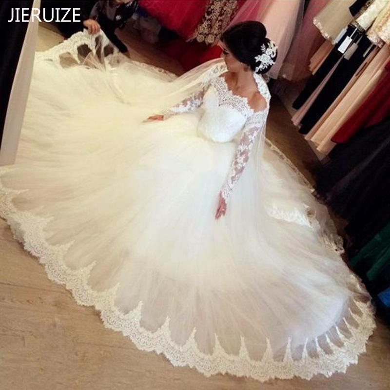 JIERUIZE White Lace Off The Shoulder Long Sleeves Wedding Dresses Ball Gown Princess Bride Dresses Wedding Gowns Robe De Mariee