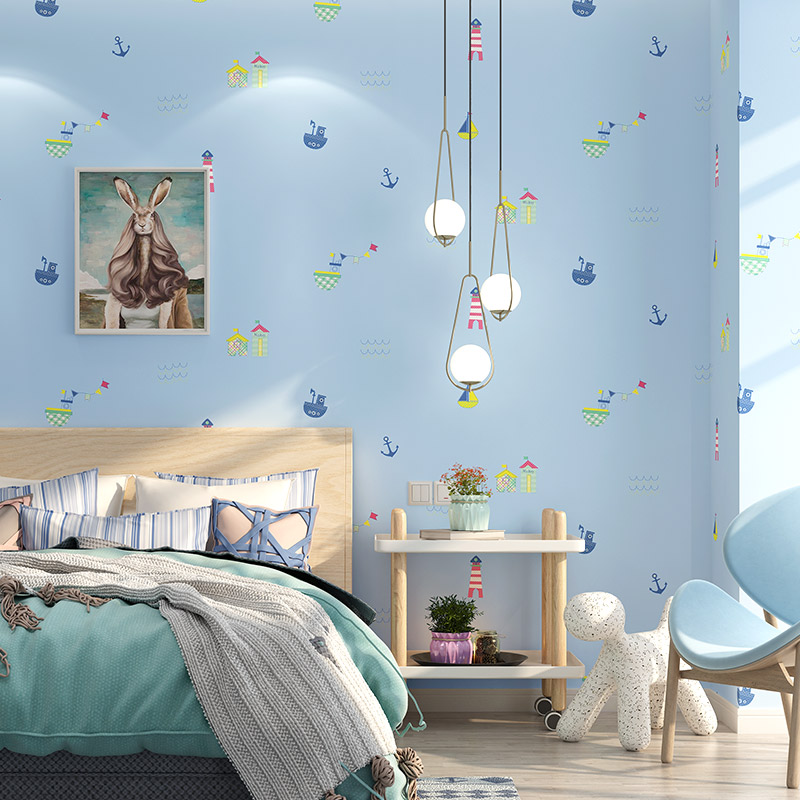 Mediterranean Cute Cartoon Wall Papers for Kids Boy Girls Room Light Blue Sailing Boat Wallpaper for Living Room Bed Room Walls