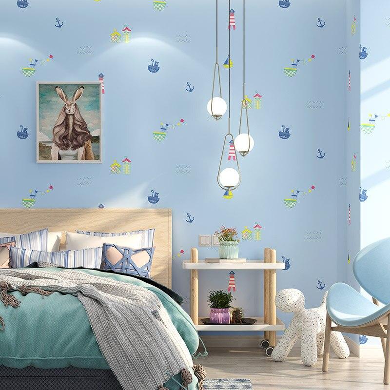 Papiers peints de dessin animé mignon méditerranéen pour enfants garçon filles chambre bleu clair bateau à voile papier peint pour salon chambre murs