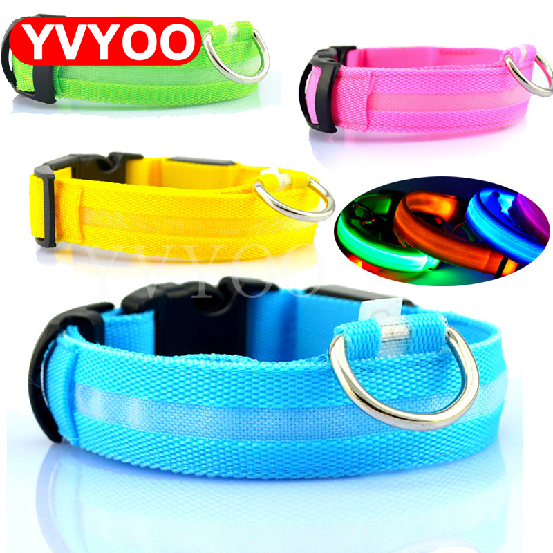 Nylon Pet Dog Collar LED Light Natt Säkerhet Light Up Flash Glödande i Dark Cat Collar LED Dog Collars Små Hundar Hund Tillbehör