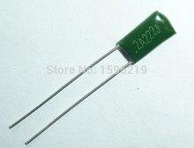 100 Uds Mylar Condensador de película, 100V 2A222J 2200pF 2.2nF 2A222 5% condensador de película de poliéster