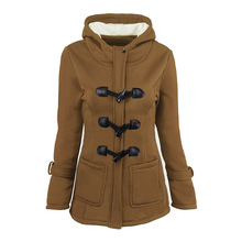 Women 2019 New Fashion Wool Jacket Lapel Hooded Long Sleeved Coat Solid Color Horn Button Cotton Jacket Female Parker Outerwear button through solid outerwear