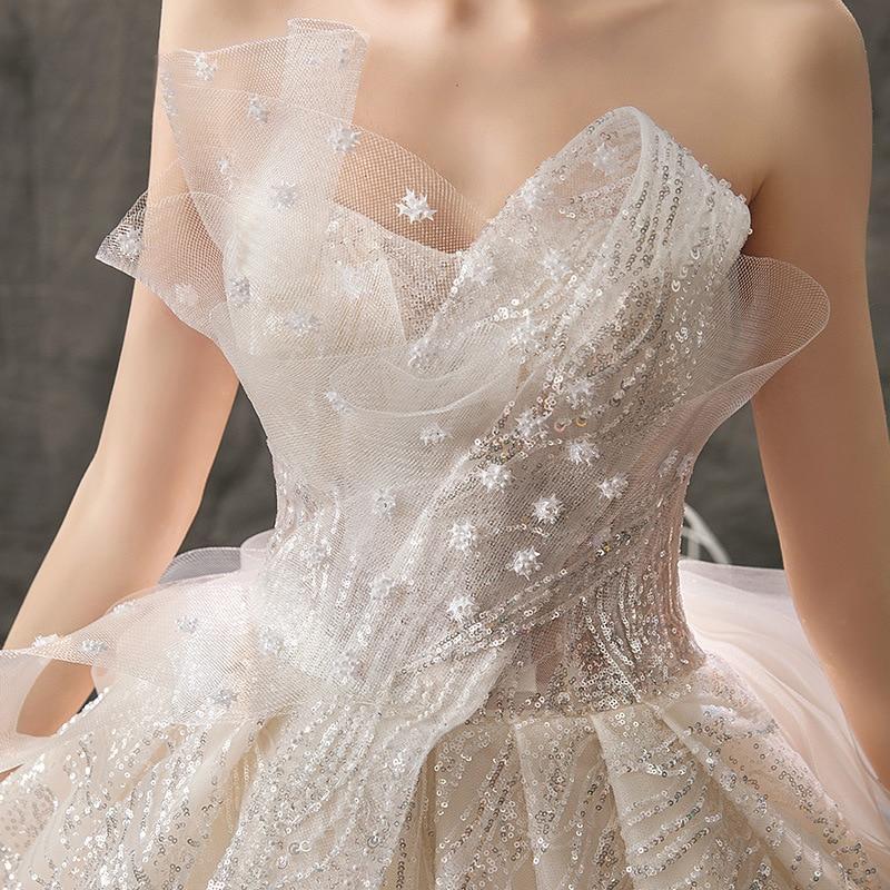 Image 5 - 2019 New Mrs Win Wedding Dress Sexy Strapless Ball Gown Luxury Bling Bling Beading Princess Vestido De Noiva Robe De Mariee F-in Wedding Dresses from Weddings & Events