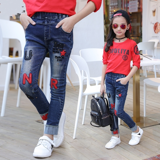 d6ff44c4ac90 Female child jeans 2019 new autumn embroidery letter pants baby girls  leggings kids casual pencil trousers fashion clothing