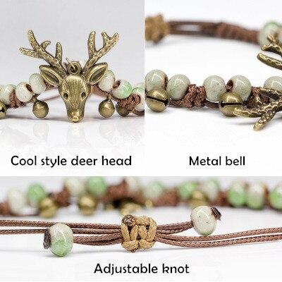 Chegada nova adorável animal deer head pulseira pulseira de contas de cerâmica bonito sino pulseira de corda de cera