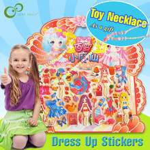 Cartoon Dress Up Stickers 3D Sticker with Toy Necklace Fashion Kids Children Girls Boys PVC Stickers Bubble Stickers Toy GYH(China)
