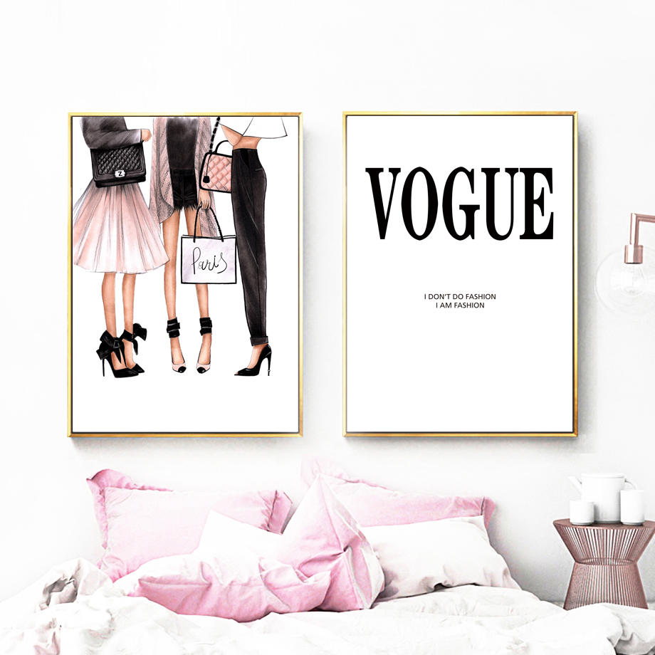 Fashion Girl Logo Super Model Wall Art Canvas Painting Watercolor Nordic Posters And Prints Wall Pictures For Living Room Decor