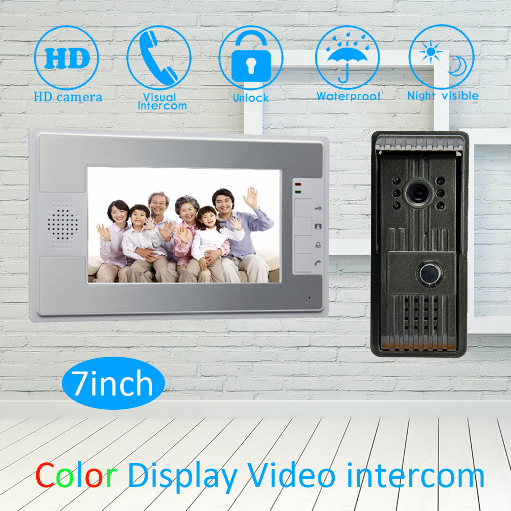 (1 Set) 7 Inch Video Door Phone LCD Colorful Screen Monitor Waterproof Outdoor Unit Door Unlock Talkback Intercom system Access(1 Set) 7 Inch Video Door Phone LCD Colorful Screen Monitor Waterproof Outdoor Unit Door Unlock Talkback Intercom system Access