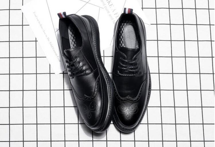 Pointed Toes Shoes Men Lace-Up Smart Casusl Carved Genuine Leather Soft Sole Male Brogue Platform Height Increasing Dress Shoes Pointed Toes Shoes Men Lace-Up Smart Casusl Carved Genuine Leather Soft Sole Male Brogue Platform Height Increasing Dress Shoes