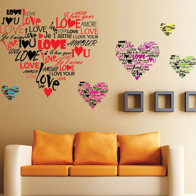 Emoji Wall Art aliexpress : buy removable the sweet love literal emoji