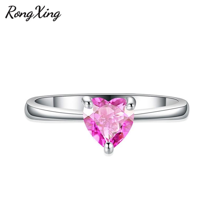 RongXing 925 пробы заполненный серебром браслет с сердцем из опала камень кольца для женщин Винтажная Мода фиолетовый/красный/синий/кольцо с зеленым Цирконом подарок - Цвет основного камня: Pink