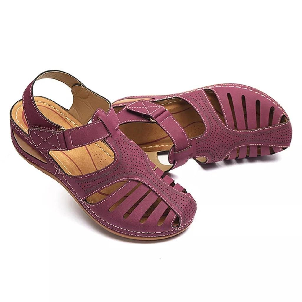HTB10bYieA5E3KVjSZFCq6zuzXXau Women's Sandals Summer Ladies Girls Comfortable Ankle Hollow Round Toe Sandals Female Soft Beach Sole Shoes Plus Size C40#