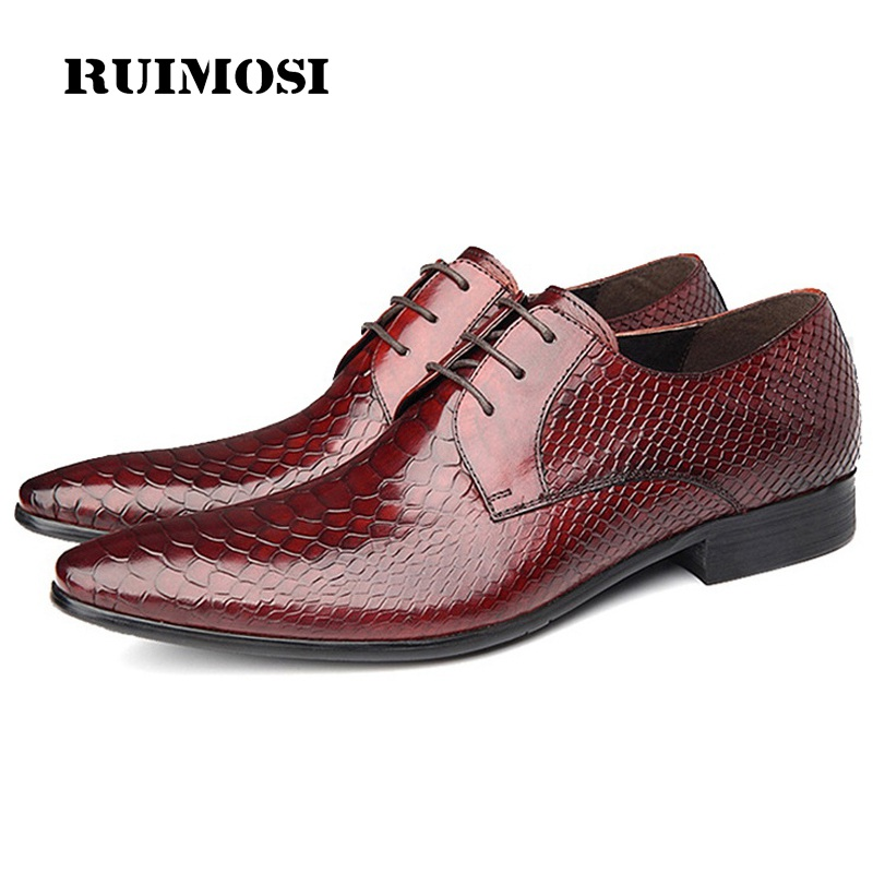 RUIMOSI Famous Pointed Snakeskin Man Formal Derby Shoes Genuine Leather Italian Oxfords Brand Men's Bridal Wedding Flats GD62