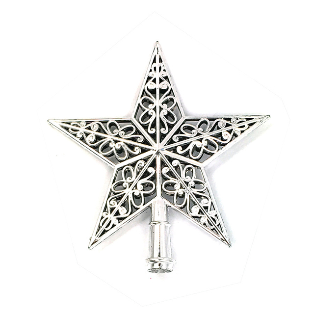 Cute Colorful Star Christmas Tree Top hollow five pointed stars Sparkle Hang Xmas Decoration Ornament Treetop Topper Dimensional