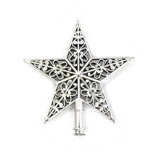 Decoración navideña de estrella de colores, estrella de colores, parte superior del árbol de Navidad, hueco, cinco estrellas con puntas, adorno tridimensional