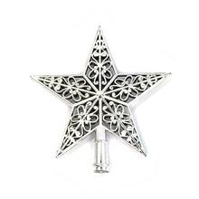 Leuke Kleurrijke Ster Kerstboom Top Hollow Vijfpuntige Sterren Sparkle Hangen Xmas Decoratie Ornament Treetop Topper Dimensionale