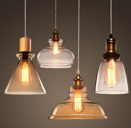 Edison loft style wood glass droplight vintage pendant for Hanging light fixtures for dining room