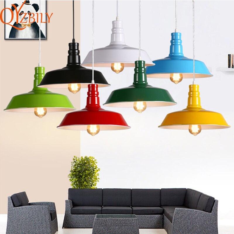 Pendant lights Colorful American Vintage Aluminum hanging lamp loft industrial style lights fixture Dia 26cm E27 Home Lighting
