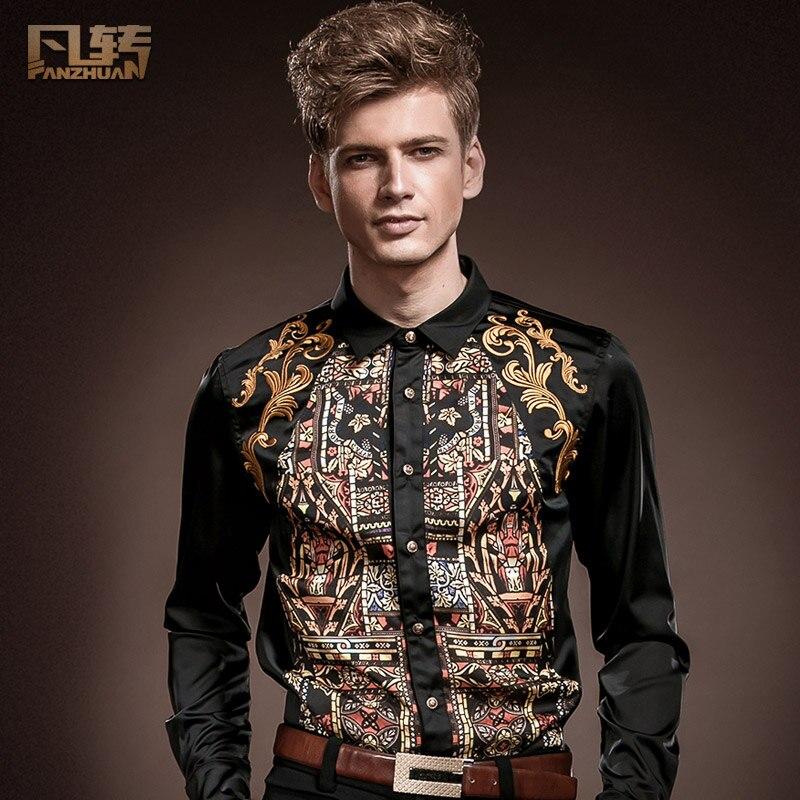 e8c5a1056e97a شحن مجاني جديد الموضة عارضة الذكور طويلة الأكمام قميص الربيع طوق أسود طويل  الأكمام ضئيلة عارضة قميص 14229 للبيع