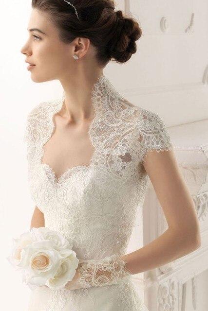 Short Sleeves Upper body Lace Wedding Bolero White Ivory Free Shipping Bridal Jacket HIgh Quality Cheap bridal bolero in Wedding Jackets Wrap from