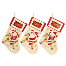 Free shipping lovely 3pcs/lot Christmas Stocking with Photo Frame 18 Santa Claus Snowman Reindeer Gift Sock Xmas Socks