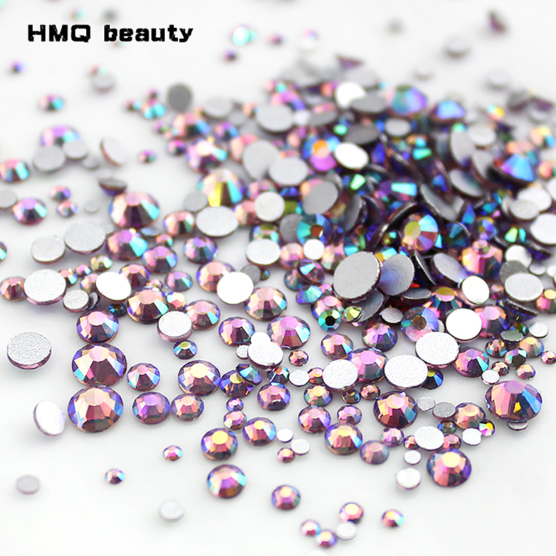 light amethyst Multi-size Glass Nail Rhinestones For Nails Art Decorations Crystals Strass Charms Partition Mix Size Rhinestone