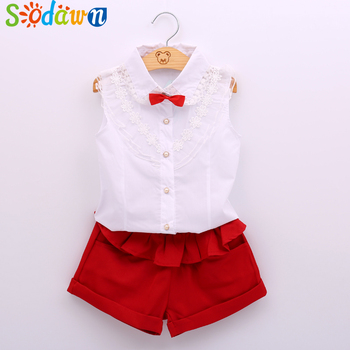 2015 Summer fashion Girl lace white blouses+ red shorts clothing set kids clothes sets twinset conjuntos casuales para niñas