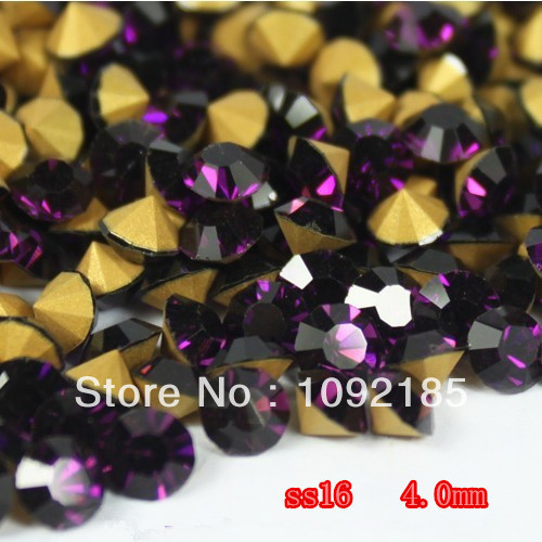 SS16(3.8-4.0mm) Amethyst  Color,10gross/lot Pointed Back Chaton Rhinestone for Jewelry Accessory! Free Shipping ss16 3 8 4 0mm aquamarine color 10gross lot pointed back chaton rhinestone for jewelry accessory free shipping