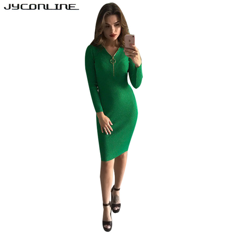 JYConline 2017 Autumn Dresses Women Knitted Bodycon Pencil Dress Long Sleeve Deep V Winter Sexy Party Dress Package Hip Vestidos