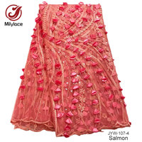 High end ślub/party dress coral złoto kamienie aplikacja afryki francuski koronki tkaniny koronki tkaniny koronki tkaniny tekstylne JYW-107