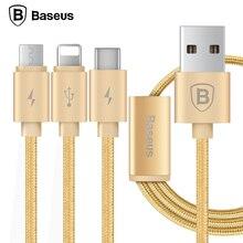 Baseus 3 в 1 Зарядный Кабель Для Молнии Micro USB Тип C Multi Кабель Зарядного Устройства Для iPhone 7 6 s 6 SE 5S Для Android телефон