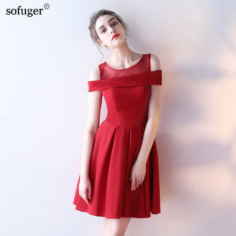 New 8 Colors Celebrity Dresses Mini Scoop Satin Tulle Simple Style Cheap vestido  de festa 2019 bd1fef6f7a82