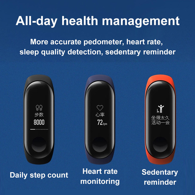 In Stock Xiaomi Mi Band 3 Fitness Tracker Heart Rate Monitor 0.78'' OLED Display Touchpad Bluetooth 4.2 Miband 3 For Android IOS