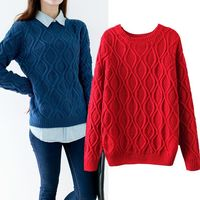 Hot New Autumn Winter Women Cotton ElasticTwist Sweater Lady Knitted Long Sleeve O Neck Woolen Pullovers