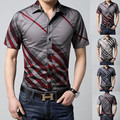 Los hombres de manga corta slim fit shirt overhemd sociales casual male big tamaño M L XL 2XL 3XL 4XL 5XL 6XL raya con cuello caliente venta