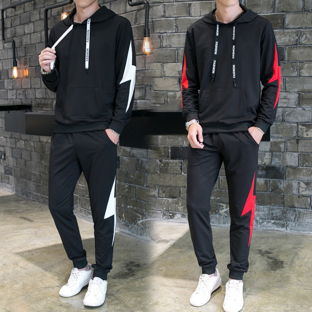 Men Two Pieces Set Hooded Sweatshirts Sportswear Men Tracksuit Hoodie Spring Autumn Men Brand Clothes Hoodies+Pants Sets 2019