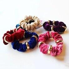 5pcs/Lot Multi Colors Velvet Elastic Hair Bands Ropes Ponytail Holder Scrunchies Tie Rubber For Women Girls