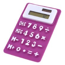 THGS New Purple White Soft Silicone 8 Digits LCD Display Electronic Calculator