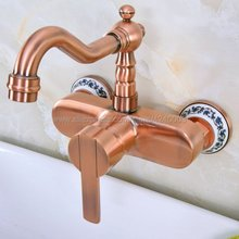 Antique Red Copper Wall Mounted Faucets Kitchen Swivel Faucet Bathroom Basin Sink  Mixer Tap Kna940