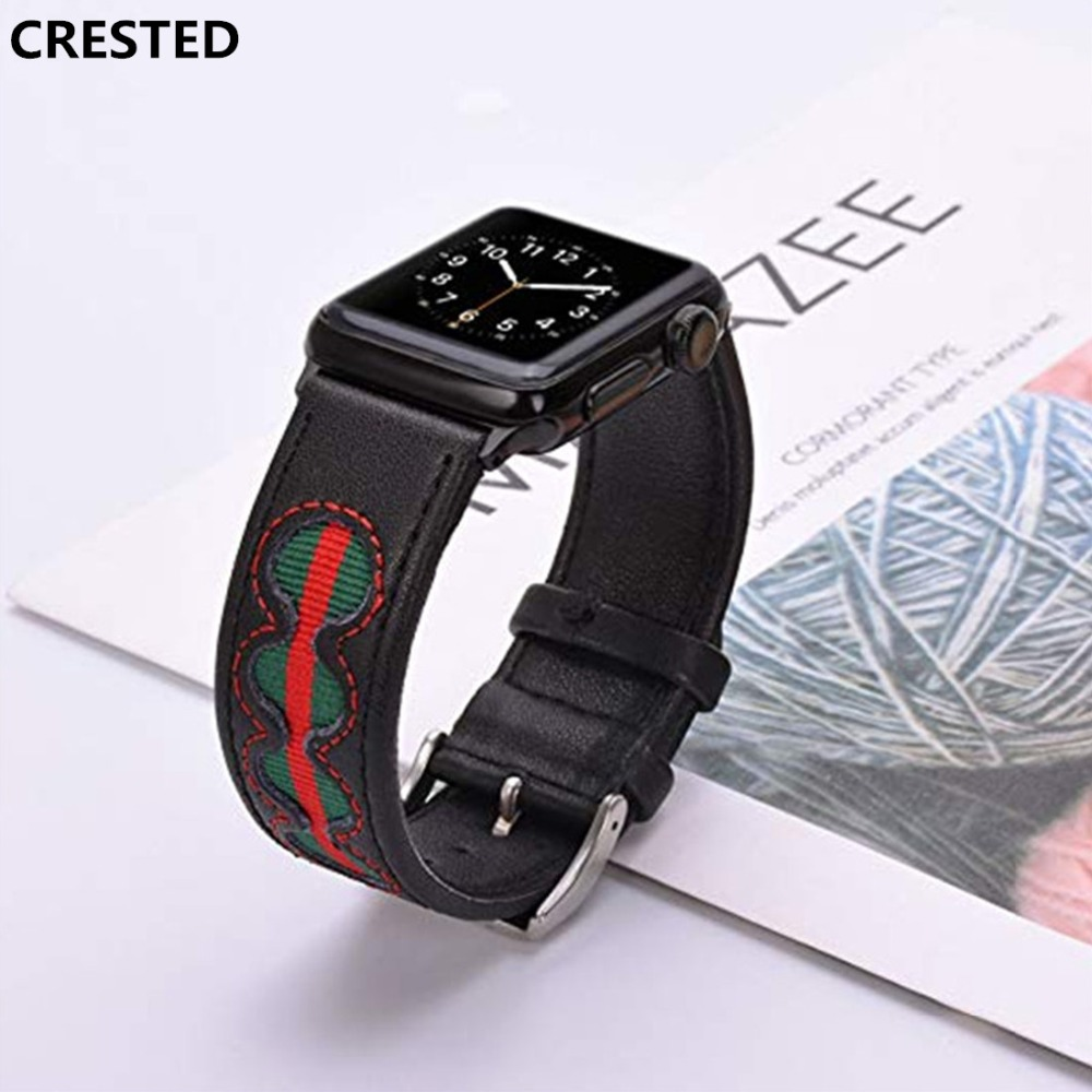 CRESTED Genuine Leather strap For Apple watch band 42mm 38mm Iwatch series 3/2/1 woven nylon wrist bands bracele belt watchband crested crazy horse strap for apple watch band 42mm 38mm iwatch series 3 2 1 leather straps wrist bands watchband bracelet belt