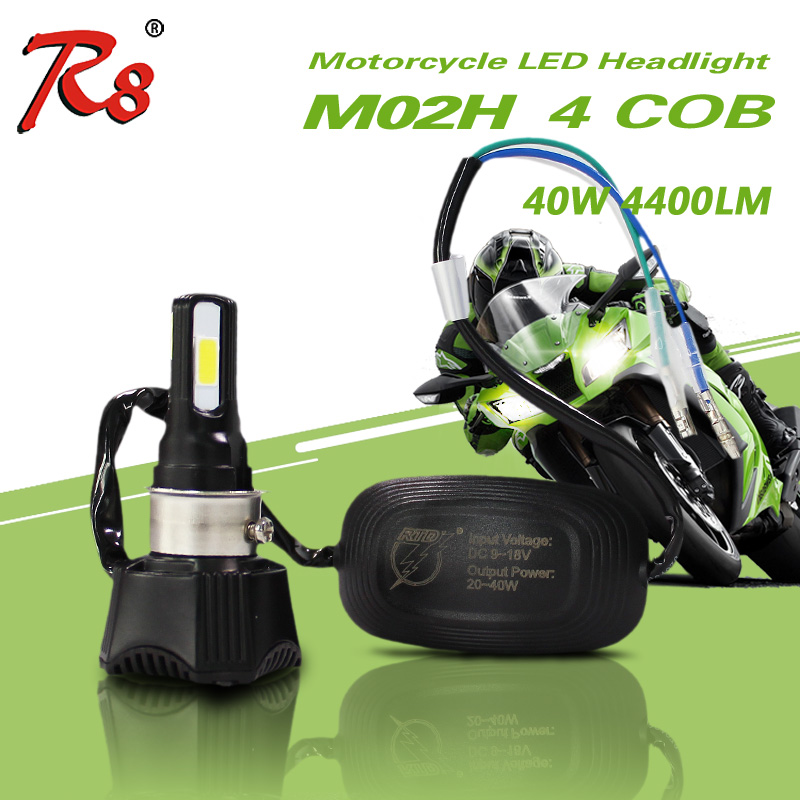 Enkel installasjon Universal Motorcycle M02H Headlight LED-lampe 4cob DC 40w 4400LM H4 HS1 H6 Hei / Lo Beam 360 Degree High Power