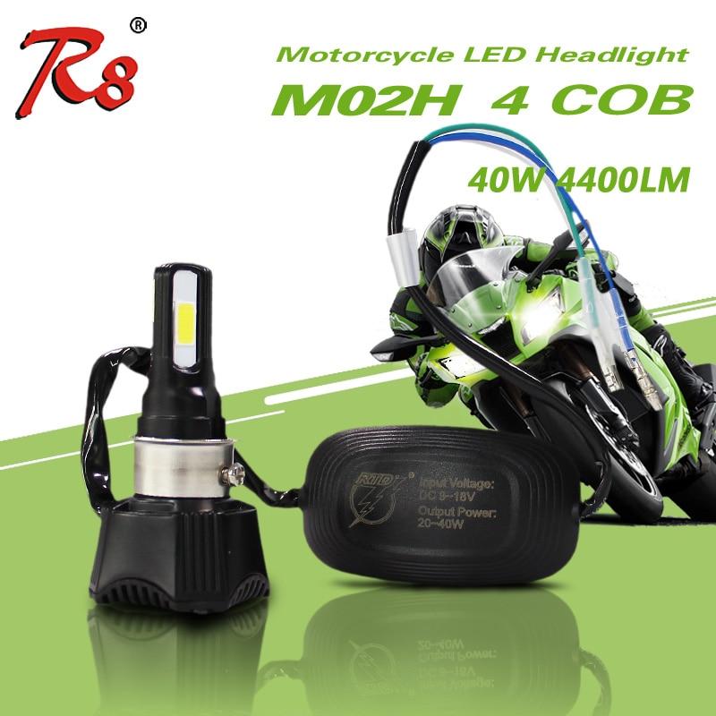 Instalim i thjeshtë Motor Universal M02H Llambë LED me fener 4cob DC 40w 4400LM H4 HS1 H6 Hi / Lo Rrezja me fuqi të lartë 360 shkallë