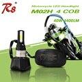 Fácil de Instalar M02H Universal de La Motocicleta Faros LED Bombilla 4cob DC 40 w 4400LM H4 HS1 H6 Hi/Lo de Haz de 360 Grados de Alta poder