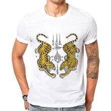 Downhill Tiger Print Men T Shirt Short-Sleeve O-Neck Top Cotton Fashion Mens Tops Tee Shirts Animal Cartoon Design Man T-shirt