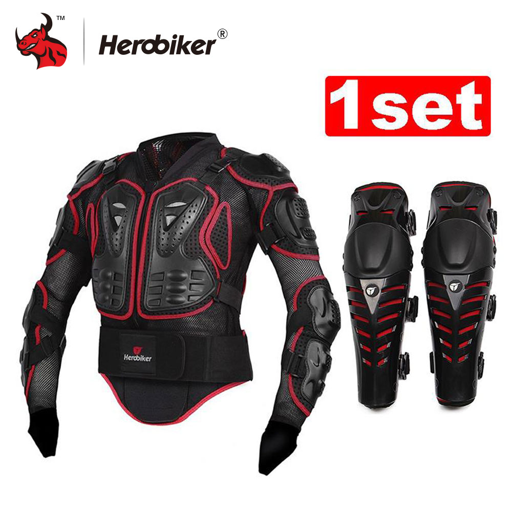 HEROBIKER  Motorcycle Jacket Body Armor Protective Gears Motocross Off-Road Body Protection Jacket + Motorcycle Knee Protector scoyco motorcycle riding knee protector extreme sports knee pads bycle cycling bike racing tactal skate protective ear
