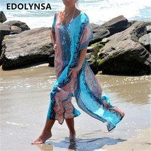 Plaża sukienka Kaftan Pareo sarongs seksowne cover-up szyfon bikini stroje kąpielowe tunika strój kąpielowy kostium kąpielowy pokrycie UPS Robe de Plage P8 tanie tanio Poliester Drukowania Pasuje do większych niż zwykle Sprawdź informacje o rozmiarach tego sklepu jak pokazują Wolna