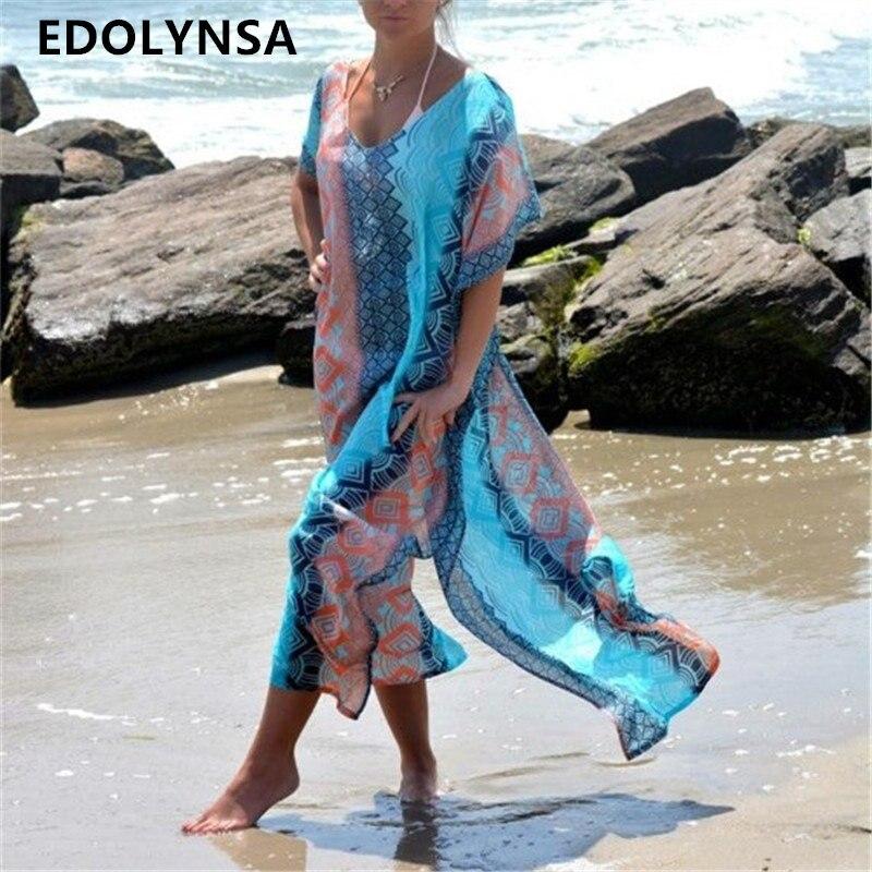 Vestito dalla spiaggia Caftano Pareo Parei Sexy Cover-Up Chiffon Costumi Da Bagno Bikini Tunica Costume Da Bagno Costume Da Bagno Cover Up Robe De plage # Q8